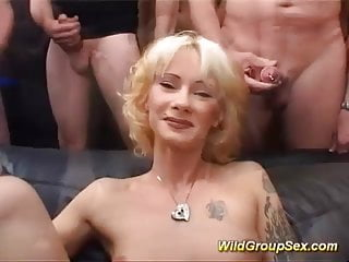 Groupsex gay - German milf in bukkake groupsex orgy