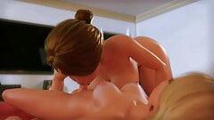 Impressive MILF blows petite daughter - 3D Futanari (ENGDub)