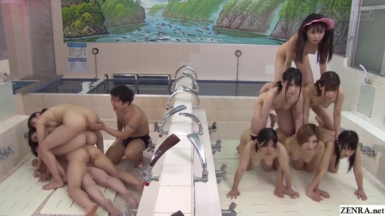 JAV Time Stop Naked Pyramid of Women in Bathhouse...