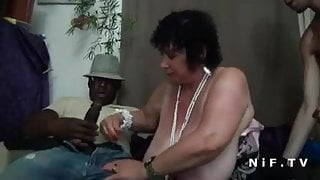 BBW French granny hard double penetrated in foursome