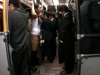 Asian grope train video - Censored rina hukada groped on train thighjob