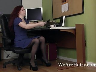 Hairy upskirts - Annebelle lee strips and masturbates after work