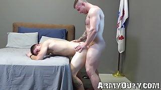 Buff soldiers Mike Johnson and Brandon Anderson bareback