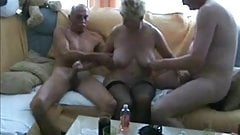 Amateur granny with two guys