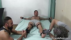 Tying up and dominating plus toe tickling for buff stud