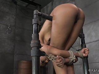 Bondage rope cutting flesh Ebony cutie in strict rope bondage