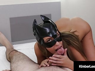 Spider-man black cat sex Hot kimber lee covers her cat mask with a load of cum