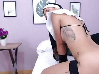 Nun wife gets fucked - Beautiful nun gets naughty and play with herself