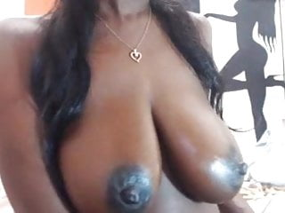 Large breasted black whores Large black nipples on chocolate breasts