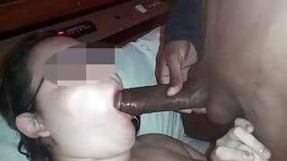 Dick didn't even fit in my mouth, humiliating my husband