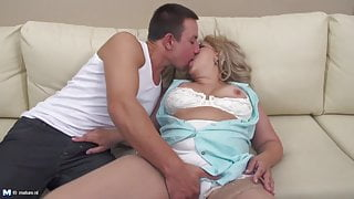 Taboo sex with mature hairy mother and step son