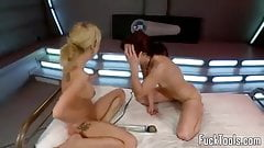 Lesbian babes fisting all holes + fucking machine squirting
