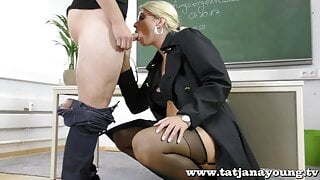 horny nasty teacher gives blowjob to student in office