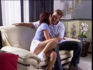 Daddy fucking daughter on the couch Daddy fucks babysitter on the couch