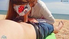 Stranger cums in my panties on the beach, risky public Creampie