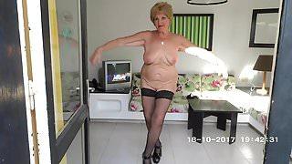 Striptease adult women in hotel