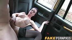 Big fake tits brunette Skyler smashed in the fake taxi
