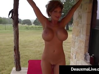 Cougars in the nude Busty cougar deauxma oils up exercises nude on her porch