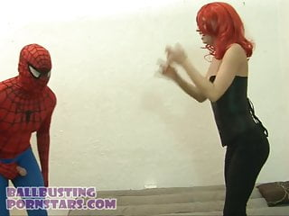 Spider basket sex Spider man vs. black widow marvel cosplay ballbusting