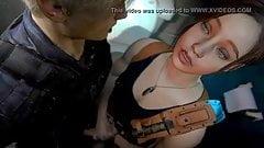 Claire Redfield quick Handjob to Leon