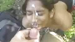 Indian NRI Girl doing HJ and getting Cum on her Face