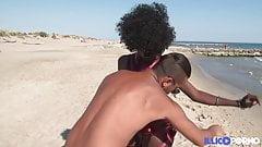 Pretty black Lily met on a nudist beach