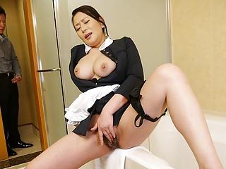 Japanese maid, Rei Kitajima was caught masturbating at work,