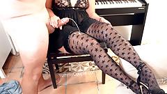 CFNM Handjob, Huge Cumshot on Stockings - YummyCouple.com