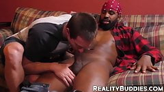 Bottom white dude is eager to blow and ride a black monster