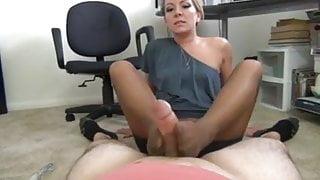 Milf boss uses legs in pantyhose to unload balls coworker