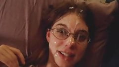 This girl gets her face and glasses splattered nicely