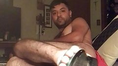 Cam show Los Angeles Latino male foot show sandals stripping