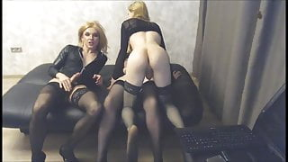Shemale threesome for their webcam fans
