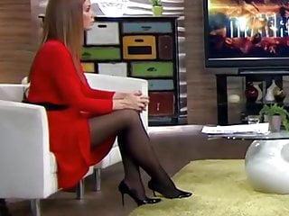 Milf judge on tv - Long legs in black pantyhose on tv 1