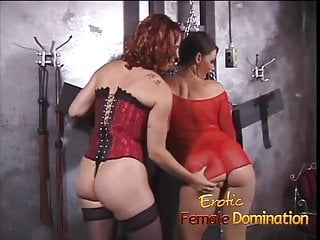 Spanked and humiliated girls - Girl in red fishnet lingerie dominated and humiliated like