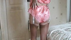 mature models satin lingerie and stockings