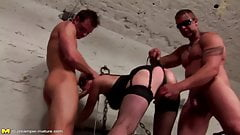 Mature mom fucked by two boys in ass with creampie