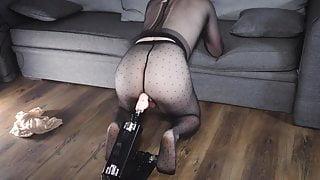 Black pantyhose and dildo sex machine