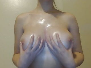 Firm oiled tits - Oiled tits tease
