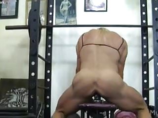Hairy hung muscle dildo Muscle babe fucks a dildo in the gym