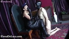 Domme Uses Naked male slave For Faceslapping And Ashtray