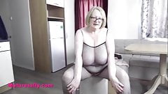 anal gape Big tits Grandma Sally in fishnet bodystocking and red heels pwag