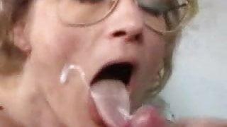 German granny gets fist fuck and facial