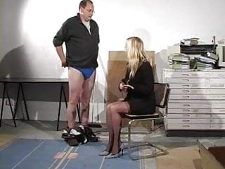Teen female spanking Guy gets punished and caned by female boss