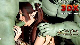 Elf girl gangbanged by two brutal Goblins. 3D Porn Cartoon