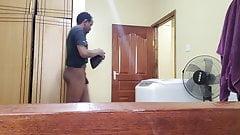 Public Men's Bathroom Stall Door Opened, Unlocked, Understall