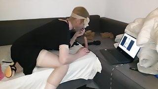 Sucking my dildo in pantyhose