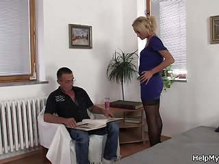 Man fucks him self with Old man calls him to fuck his young blonde wife