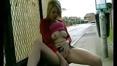 Horny Chubby GF masturbating her Wet Pussy at the bus stop