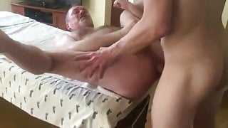 Verbal Grandpa takes a nice cock.